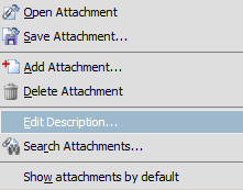 Screenshot of how to edit the attachment description